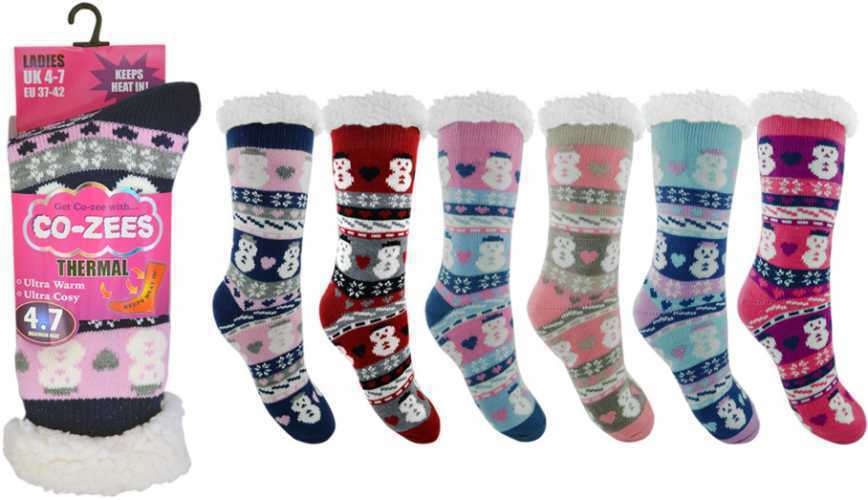 80f10b0f0afff Ladies Snowman Thermal Sherpa Fleece Fairisle Slipper Socks